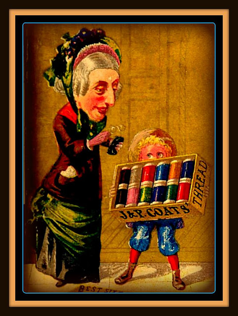 Woman with gray hair holding glasses & case stand to left of boy holding box of J&P Coats color threads