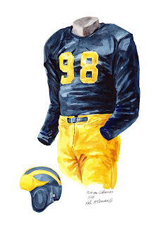 1940 University of Michigan Wolverines football uniform original art for sale