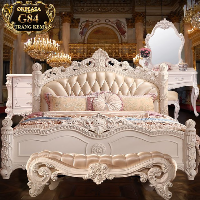 Bộ giường cổ điển màu trắng sang trọng cao cấp rất được ưa chuộng