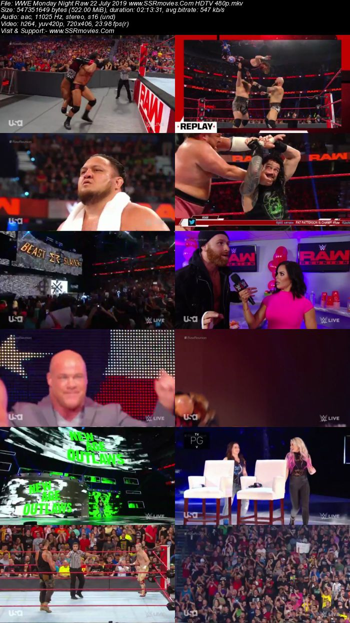 WWE Monday Night Raw 22 July 2019 Full Show Download HDTV WEBRip 480p 720p