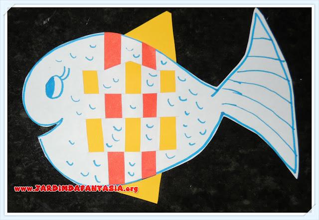 Artes Educação Infantil Peixinho de Entrelaçado Fita de Papel Colorido
