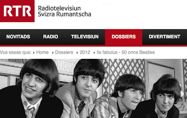 Dossier spécial Beatles de la Radiotelevisiun Svizra Rumantscha