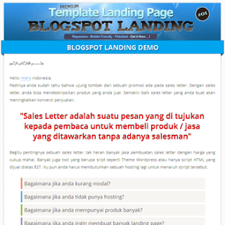 template landing page blogspot