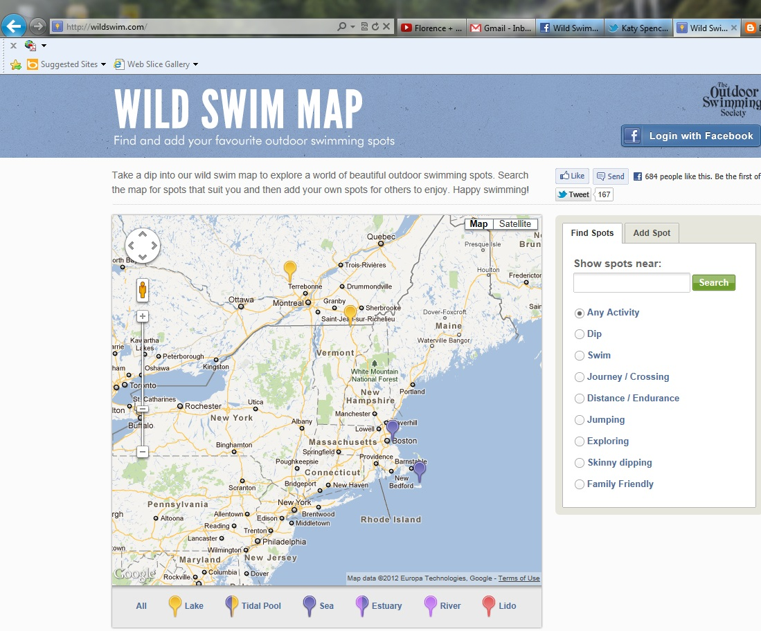 Wild Swim Map Worldly Wild Swimming  Outdoor Swimming Society 2012 Swim Map