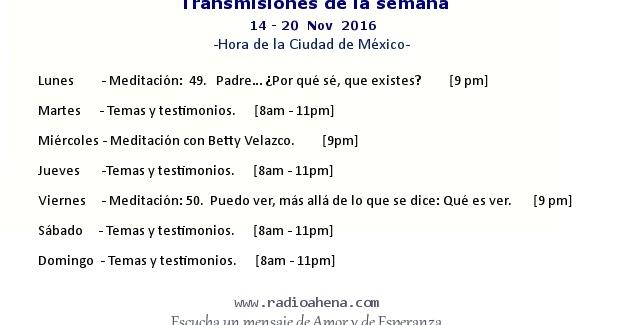 Mensajes Alaniso: Radio Ahena. Transmisiones de la semana
