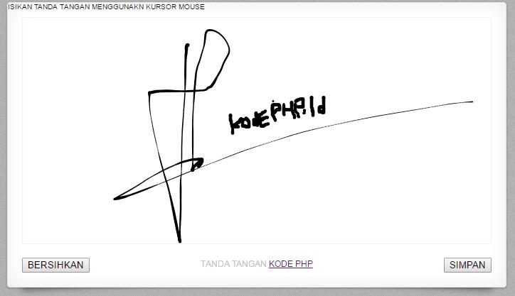 Membuat Tanda Tangan Dengan Php Dan html