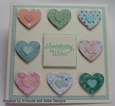 ODBD Wishing Well, ODBD Custom Mini Stitched Hearts Dies, Card Designed by Amanda aka Abba Designs