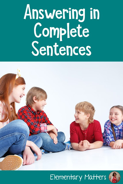 Answering in Complete Sentences: This post shares 5 steps to get the children to use words from the question to answer in complete sentences. Plus, several examples, and ideas for resources.