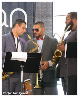 Chris Madsen - Tenor Saxophone, Victor Garcia - Trumpet and Flugelhorn, Rajiv Halim - Alto Saxophone at the Von Freeman Pavilion of the 2017 Chicago Jazz Festival | Photograph by Tom Bowser