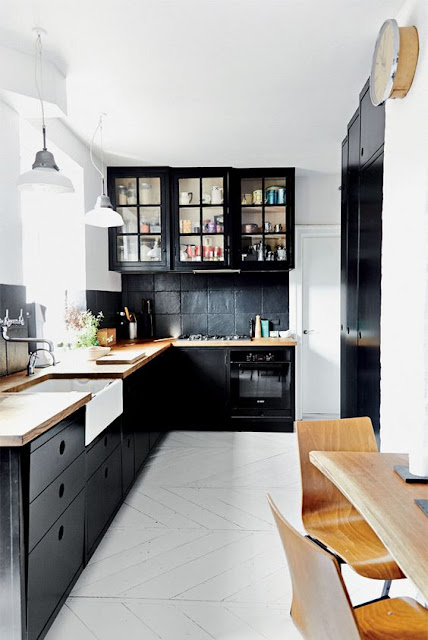 Black Kitchen Cabinets with white countertops and wood counters :: OrganizingMadeFun.com