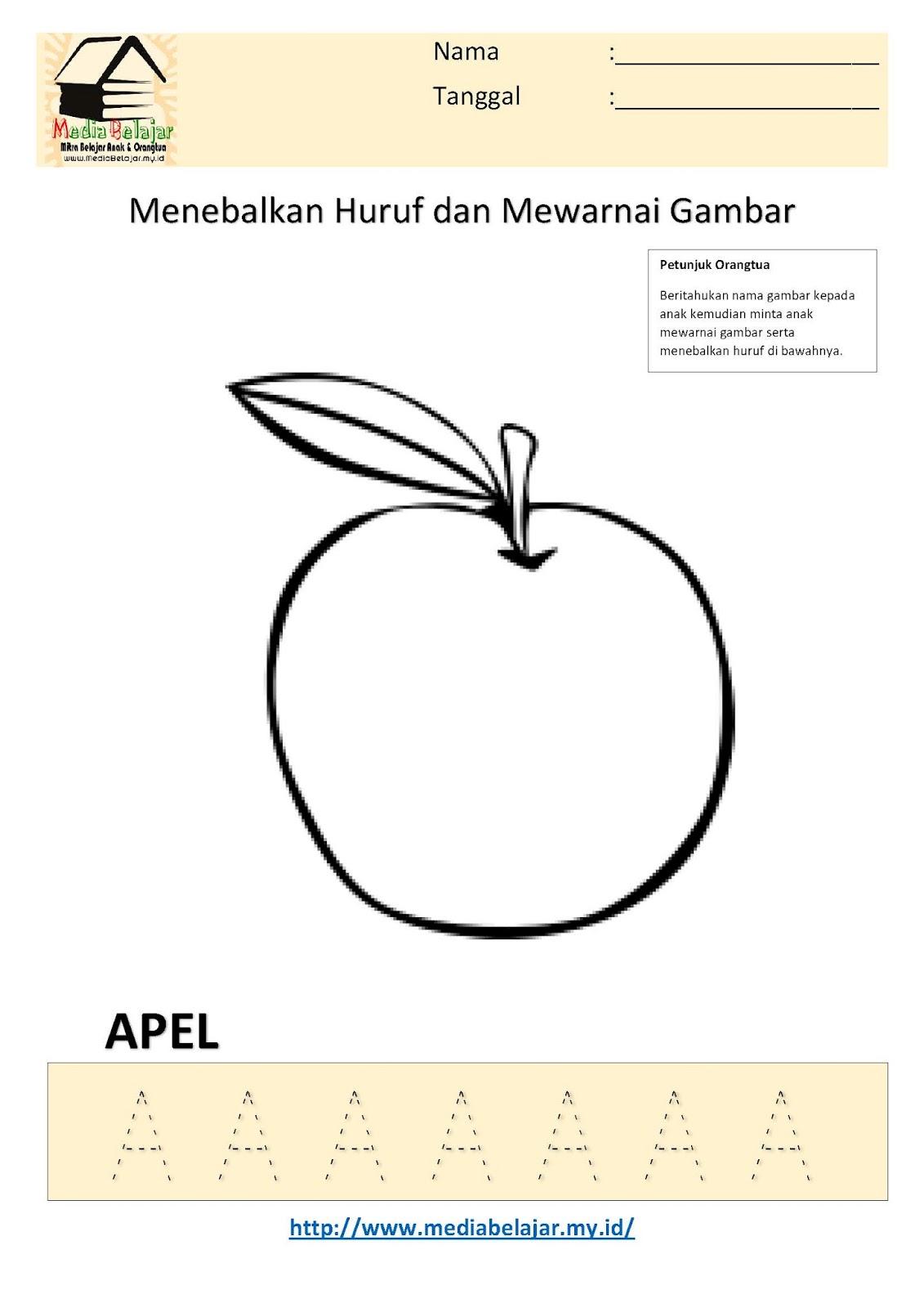 Menebalkan Huruf A Dan Mewarnai Gambar Apel
