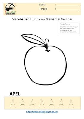 Lembar Kerja Paud Menebalkan Huruf A dan Mewarnai Gambar Apel