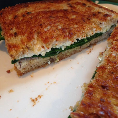 Featured Recipe | Grilled Cheese & Spinach with Hot Sauce from We Heart Vegan #recipe #SecretRecipeClub