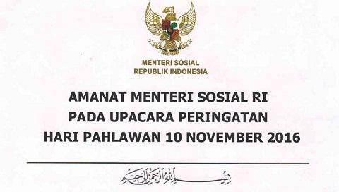 Sambutan / Amanat Menteri Sosial RI Hari Pahlawan 2016