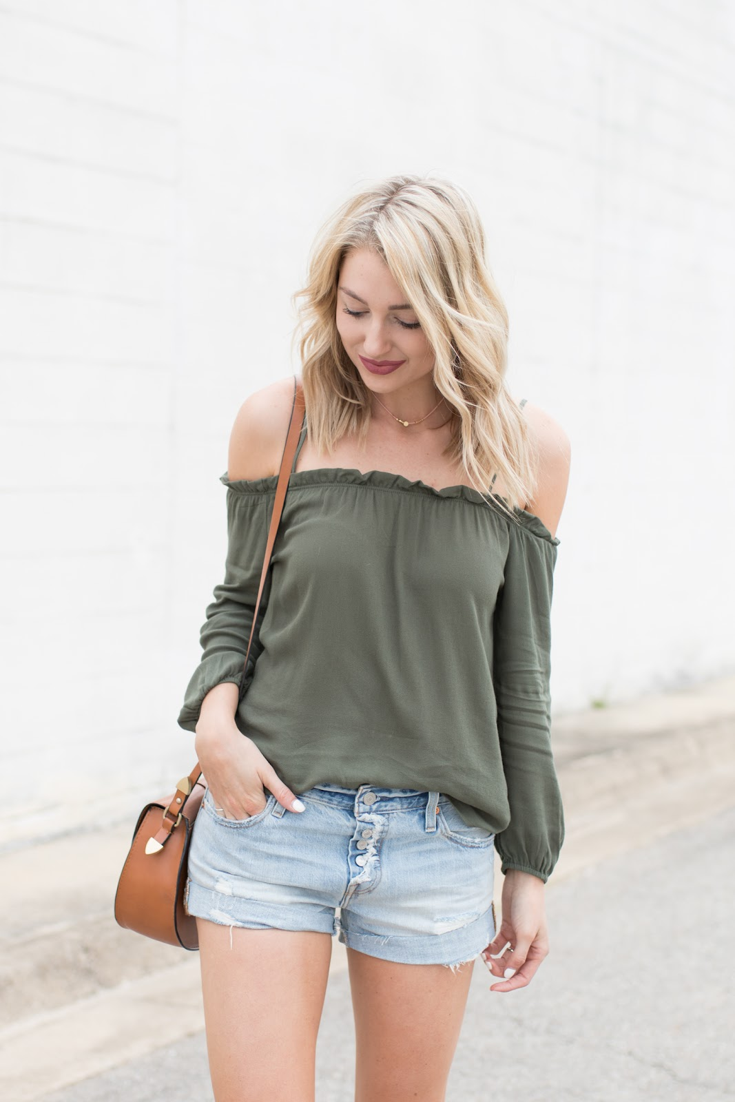 Olive green off-the-shoulder top