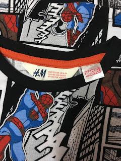 Áo Spider man Người nhện, hiệu H&M, Xuất xịn Made in cambodia.