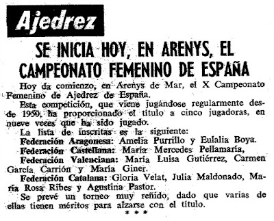 X Campeonato de España Femenino 1967, recorte en Mundo Deportivo