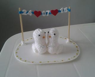 topo bolo pombinhos,topo bolo amigurumi,topo bolo casal passarinhos,topo bolo varal data