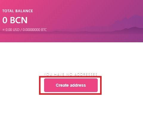 Crear nueva dirección wallet monedero Bytecoin BCN