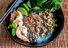 Thai Glass Noodle Bowl w/ Shrimp, Pork, Herbs and Toasted Cashews