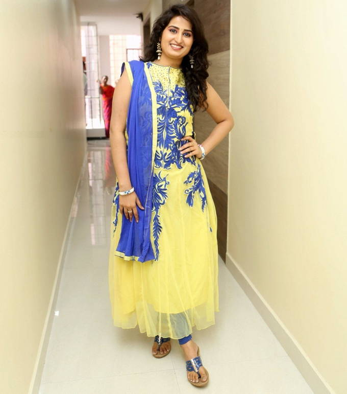 Ankitha TV Actress in Sleevless Anarkali Dress