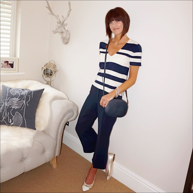 My Midlife fashion, j crew knitted boxy v neck jumper, j crew metallic two tone ballet pumps, marks and spencer cropped kick flare trousers, iris and ink leather shoulder bag