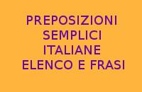 QUALI SONO TUTTE LE PREPOSIZIONI SEMPLICI IN ITALIANO ?