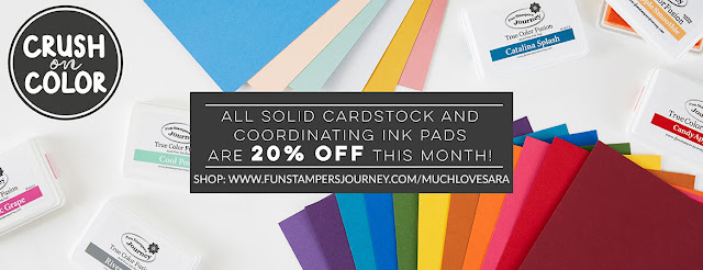 Save 20% off of the regular price of solid packs of card stock, and the coordinating True Color Fusion Ink Pads in September 2018.