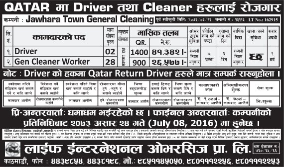Free Visa, Free Ticket, Jobs For Nepali In Qatar Salary -Rs.41,000/