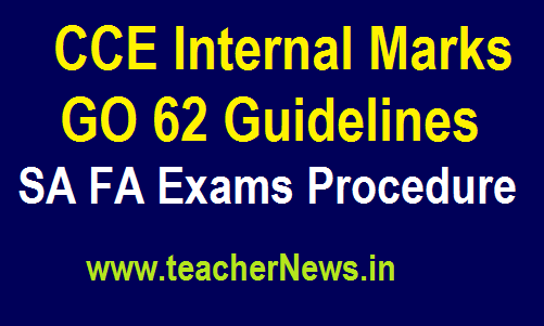 CCE Internal Marks Guidelines GO 62 - SA FA Exams Procedure