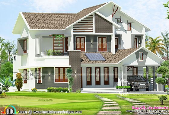 2300 sq-ft 4 BHK mix roof modern Kerala residence