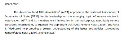 ALTA to NASS  - Yes to remote notarization.