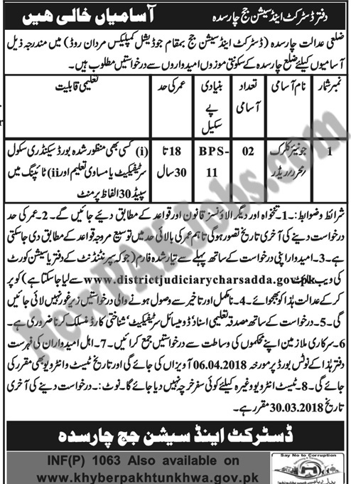 Junior Clerk Jobs in Charsadda, District and Session Judge Charsadda