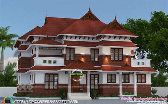 3d rendering of traditional Kerala house architecture