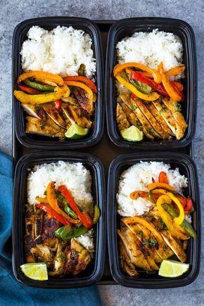 Meal-prep chili lime chicken, rice, and fajita veggie bowls.