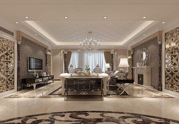 European villa living room model free 3ds max