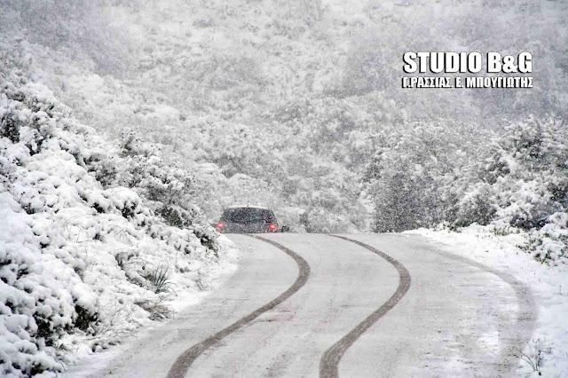 Άνοιξαν οι δρόμοι από τα χιόνια στην Αργολίδα  - Σε Κορίνθια και Αρκαδία συνεχίζονται τα προβλήματα