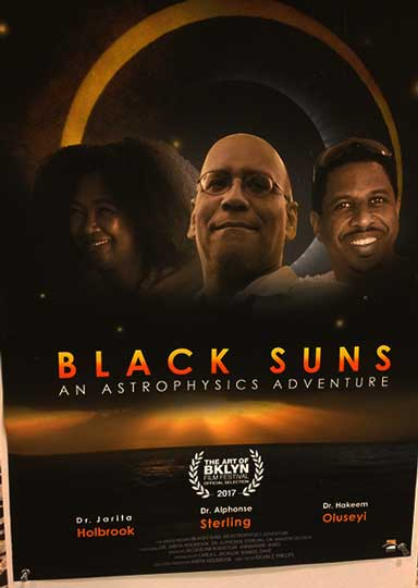 "Poster announcing the screening at the 230th AAS meeting of ""Black Suns - An Astrophysical Adventure"