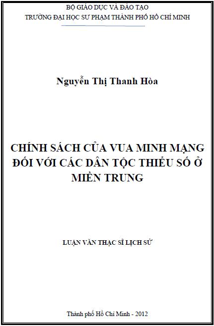 Chính sách của vua Minh Mạng đối với các dân tộc thiểu số ở miền Trung