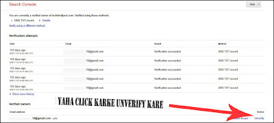 Unverify your Cname record