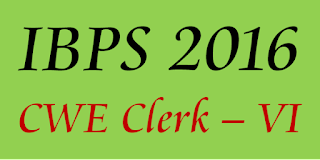 IBPS Clerk 2016 CWE VI notification