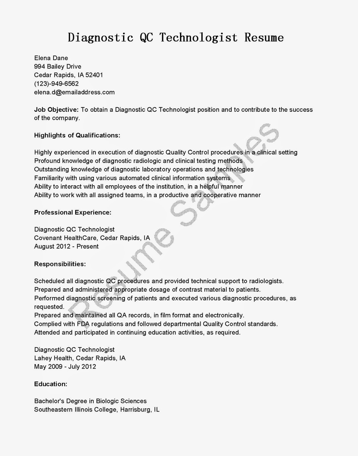 Cover Letter Examples For Radiologic Technologist