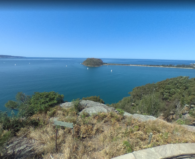 View of Barrenjoey Head from West Head Lookout