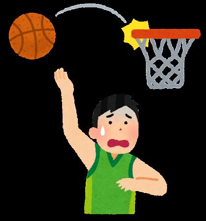 スポーツのスランプのイラスト(バスケットボール)