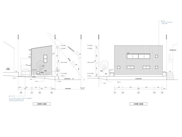 光に満たされる高天井の上品な黒い家 立面計画