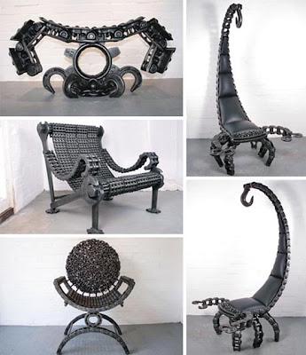 Muebles diseñados con metales reciclados