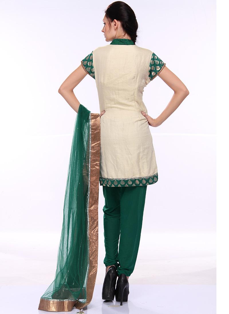 Cream Resham Embroidered Churidar Suit