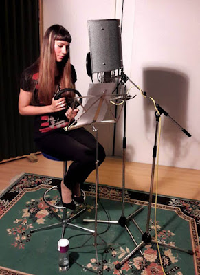Composer/narrator Anna-Christina recording narration at Unit 2 Studios, London