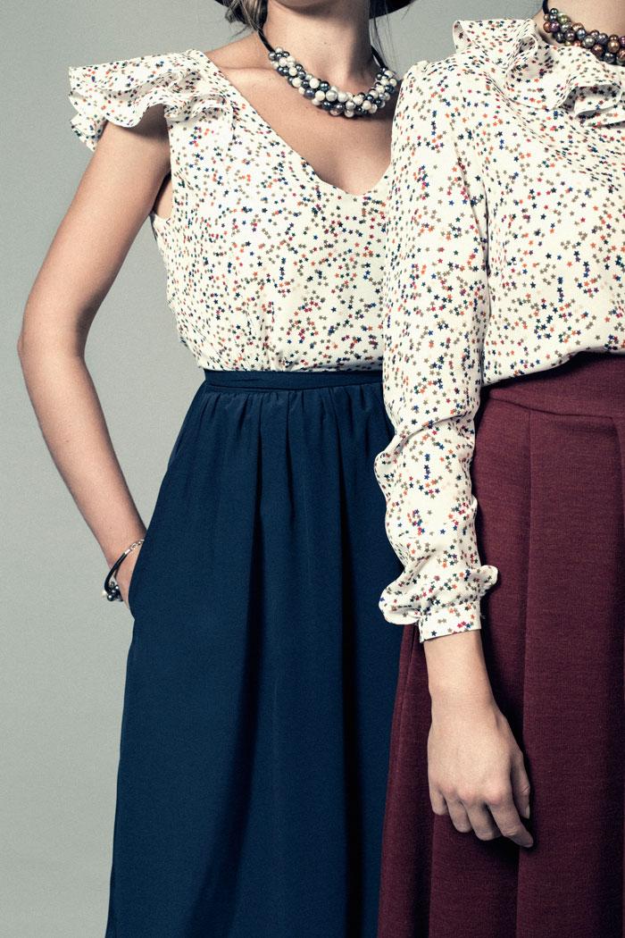 blusa manga larga estampado estrellas multicolor. moda sostenible
