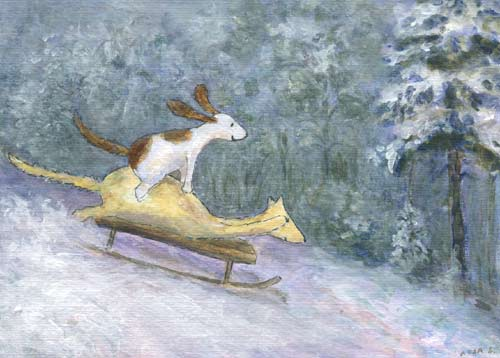 Postcard illustration of Hulmu Hukka and Haukku Spaniel sliding with a sled in a winter day